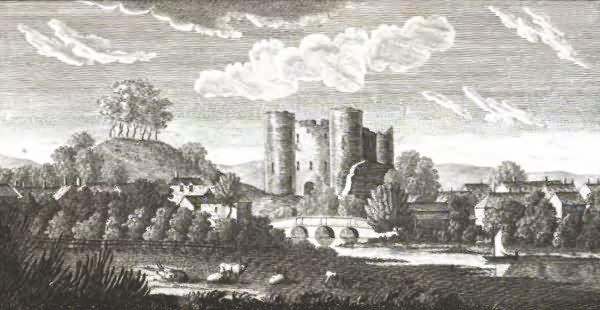 View of the Castle and part of the Town of Tonbridge - 1797